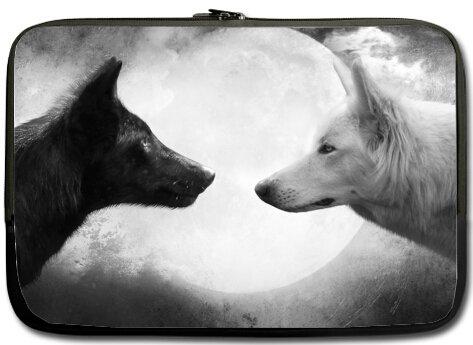 Mejor elegante negro y blanco Wolf 15.6 inch Laptop/Ordenador portátil Manga Bolsa Bolsa Caso