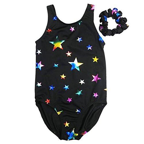 Wenchoice Black & Rainbow Stars Leotard - Infant, Toddler, Girls & Women Kids S(3-4Y) (Leotard Cs)