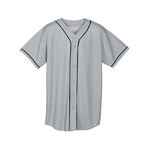 Augusta Sportswear Augusta Wicking Mesh Button Front Jersey with Braid Trim, Silver Grey/Black, XX-Large