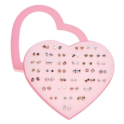 36 Pairs/set Mixed Style Anti Allergic Cute Stud Earrings Set Gold Silver Color Alloy Earring Fashion Jewelry Gift for Girl,C