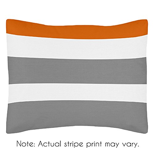Sweet Jojo Designs Gray, Orange and White Standard Pillow Sham for Stripe Teen Bedding Collection