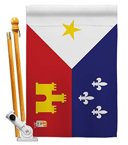 Americana Home & Garden HS140004-BO Acadiana World Nationality Decorative Vertical House Flag Set, 28