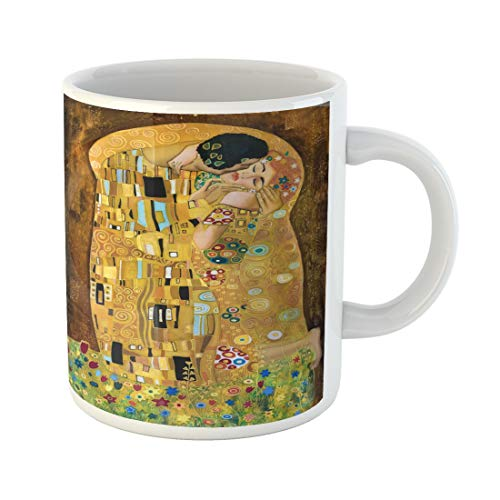 Semtomn Funny Coffee Mug Brown Klimt Inspired Abstract Batik Painting Grounds of Gustav Purple 11 Oz Ceramic Coffee Mugs Tea Cup Best Gift Or Souvenir ()