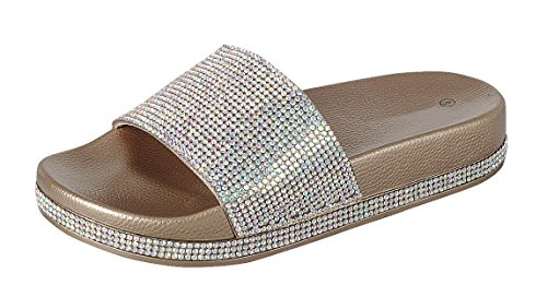 Cambridge Select Women Open Teen Kristal Strass Bezaaid Glitter Slip-on Platte Slide Sandaal Rose Goud