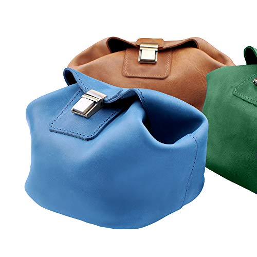 Karasto Leather Cosmetic Bag Makeup Organizer Jewelry Storage Box Travel Dopp Kit Toiletry Bags for Women Bridesmaid Gifts (Dark Green)