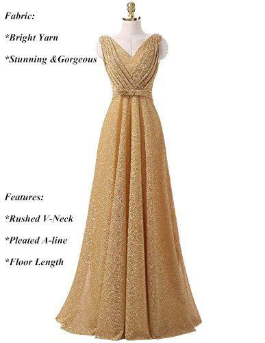 38c5816e7041 Amazon.com  OYISHA Women s Classic V-Neck Pleated Formal Evening Gowns Long  Bridesmaid Dresses for Wedding 2019 EP11  Clothing