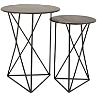 Dimond Home 8985-052/S2 Geometric Metal Accent Tables (Set of 2), 18 x 18 x 24/15 x 15 x 22