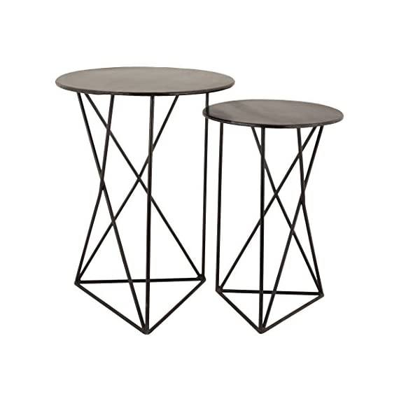"Dimond Home Geometric Metal Accent Tables (Set of 2), 18"" x 18"" x 24""/15"" x 15"" x 22"" - Large: 18""w x 18""d x 24""h Small: 15""w x 15""d x 22""h Made from Metal - living-room-furniture, living-room, console-tables - 413TsZXUbrL. SS570  -"