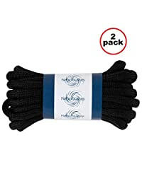 Heavy Duty Round Boot Laces - 2 Pair Pack - 1/4 Inch Thick, Perfect for Hiking, Work, Construction, U.S.A Made