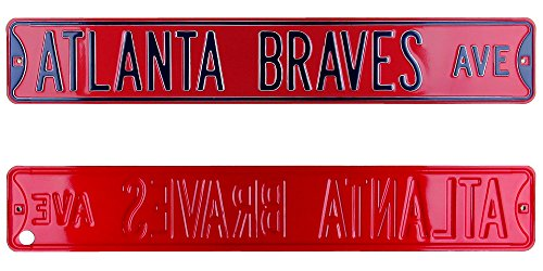 Atlanta Braves Avenue Officially Licensed Authentic Steel 36x6 Red & Navy Blue MLB Street Sign