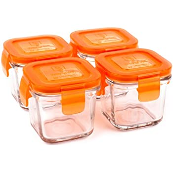 Wean Green Wean Cubes 4oz/120ml Baby Food Glass Containers - Carrot (Set of 4)