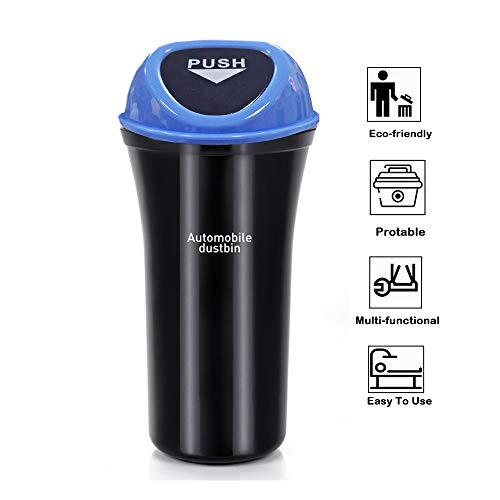 Fochutech Car Auto Garbage Trash Can Automotive Waste Storage Office Home Rubbish Bin for Vehicle Cup Holder Door with Hook (Blue) (Car Auto Trash Can Blue)