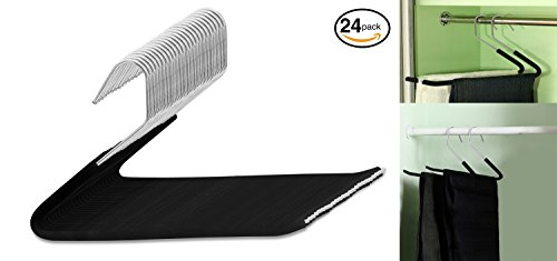 Decor Hut Pants Hanger Skirts & Suit Thin Hanger to Maximum Space 13'' Black Slack Slide In Foam Protected prevents Fold Marks Wont Glide Off Grip Hangers (24) by Decor Hut