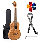 Classical Ukulele Kit Tiger Flame Okoume Wood for Beginner and Professional Player By Kmise (30 Inch Baritone)