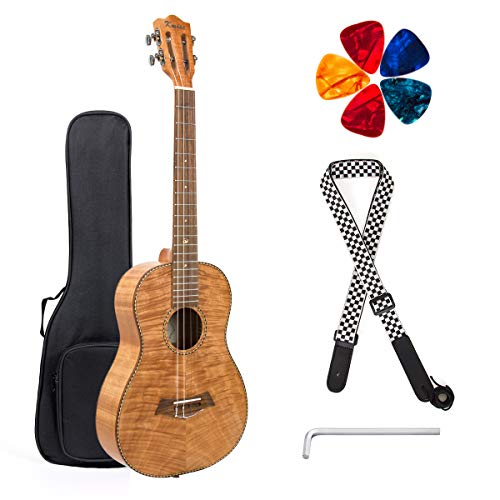 Classical Ukulele Kit Tiger Flame Okoume Wood for Beginner and Professional Player By Kmise (30 Inch Baritone) ()