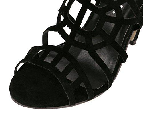 Gladiator Femmes Boucle à Sandales Stiletto LINYI Bout Noir Ouvert Talons Black Hauts Talons Daim vXqwgd0