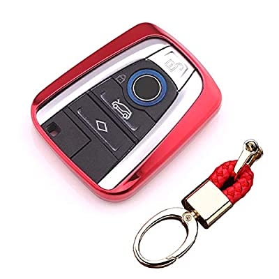 Royalfox(TM Luxury Soft TPU Smart 4 Buttons Key Fob case Cover for BMW i3 i8 2014 2016 2020 with Keychain Key Ring BMW i Key Cover (red): Automotive