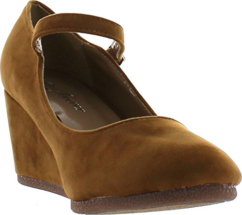 Voor Altijd Link Dames Patricia-05 Mary Jane Strap Faux Suede Sleehak Pumps, Tan Suede, 9