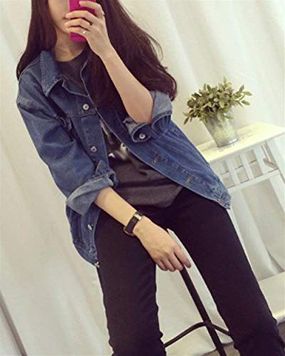Giacca Vintage Elegante Donna Casuale Denim Jeans Bavero Con Primaverile Cappotto Outerwear Giacche Manica Bolawoo Lunga Solidi Marca Fashion Mode Autunno Tasche Blau Button Di Colori qtadwdZ