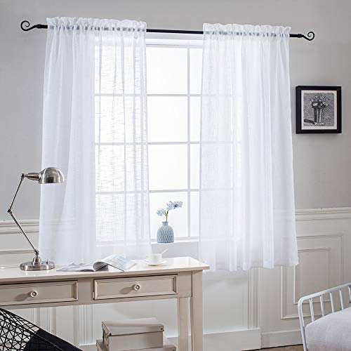 - NICETOWN Thick Sheer Curtains for Small Window - Linen Look Vertical Semi Sheer Drapes for Bathroom, 52 Inch Width, 45 Inch Length, 1 Pair