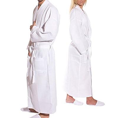 TowelRobes Waffle Kimono Bathrobe Square Pattern
