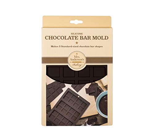 Mrs. Anderson's Baking Triple Chocolate Bar Mold, Non-Stick European-Grade Silicone, Makes 3 Standard-Sized Chocolate…