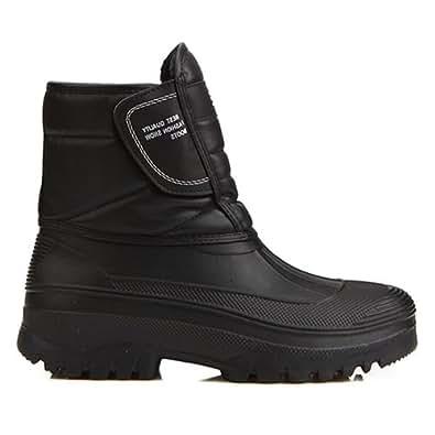 New Mens Black Warm Waterproof Winter Snow Rain Boots (7.5)