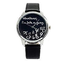 """Whatever, I'm late anyway"" Print Leather Women Men Silver Quartz Watch Black"