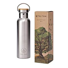 Tree Tribe Stainless Steel Water Bottle 20 oz / 12 oz - BPA Free, 100% Leak Proof, Eco Friendly, Double Wall Insulated Technology for Hot and Cold Drinks, Wide Mouth, Bamboo Cap