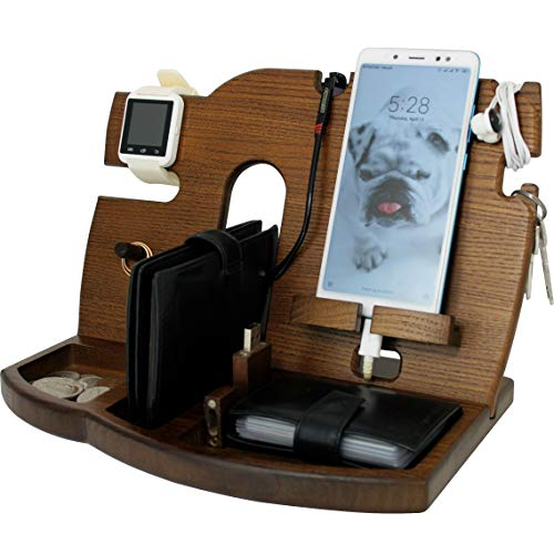 (Cell Phone Stand Watch Holder. Men Wireless Device Dock Organizer Wood Mobile Base Nightstand Charging Docking Station. Women Accessories Wooden Storage. Funny Bed Side Caddy Valet Happy Birthday Gift)