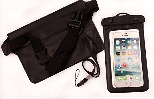 Waterproof Waist Pouch & Underwater Camera Phone Case - Adventure Bundle by Terra Friendly for Swimming, Boating, Paddle Boarding, Kayaking, Skiing, Traveling, Beach (Black)