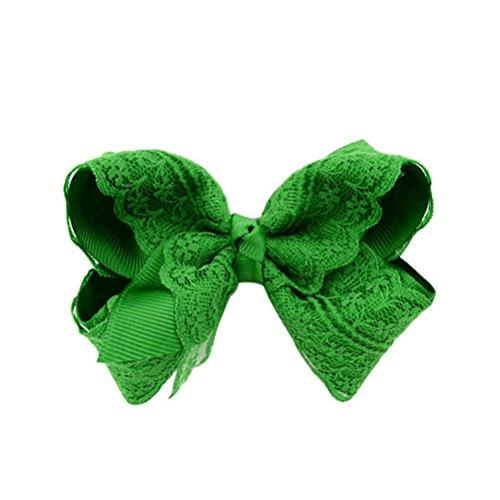 MONOMONO-Girls Baby Hair Bow Alligator Lace Hair Clip Hair Accessories (green)