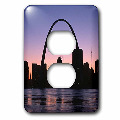 3dRose Danita Delimont - Cities - Purple twilight along the St. Louis city Riverfront, Missouri - Light Switch Covers - 2 plug outlet cover - Louis St Outlet Missouri