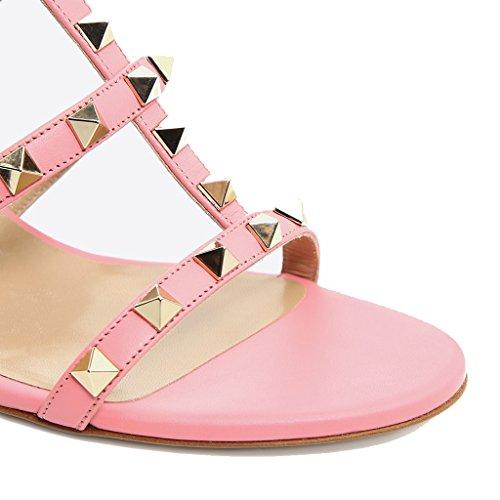 Sandali Sandali alto Pantofola alto aperta Ciabatte Donna e Sandali Col Tacco da MRB02 1 Tacco Scarpe Pink Jushee Punta Paio Con Donna Pu Con aPapqzH7