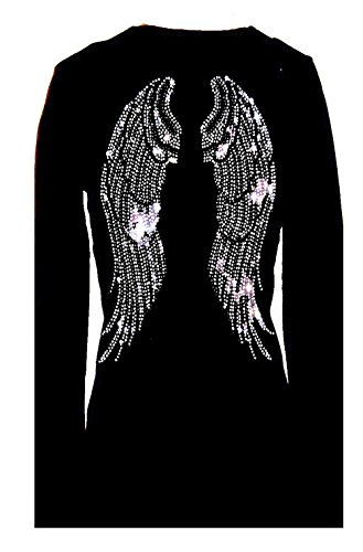 Angel Wings Rhinestone Bling Womens V Neck Long Sleeve Tee Shirt (L)