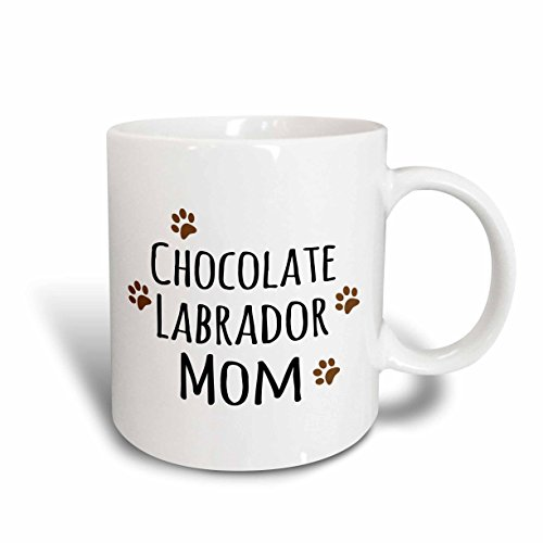 3dRose 154147_5 Chocolate Labrador Dog Mom-Lab Brown Muddy paw Prints Mug, 11 oz, - Mug Chocolate Lab