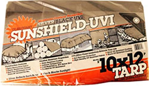 DeWitt 555919 6 Oz Uv Resistant Sunshield Tarp, 10' X 12', Silver/Black ()