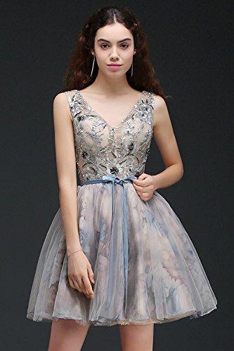 ddb8ee93be1 ... Misshow Knielang Brautjungfernkleid Ballkleider Blau Tüll Damen  Abendkleider Elegant 32-46 Gr Ärmellos V- ...