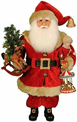 Karen Didion Originals Lighted Carousel Dreams Santa Figurine, 17 Inches – Handmade Christmas Holiday Home Decorations and Collectibles