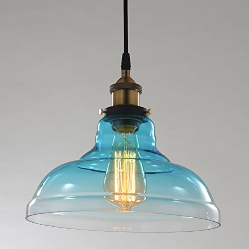 RH RUIVAST Industrial Edison Vintage Style Pendant Light Soft Aqua Blue Glass Lamp Shade Modern Ceiling Pendant Lighting 1-Light Hanging Light Fixture