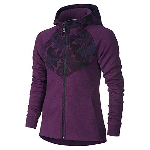 Nike Big Girls (7-16) Tech Fleece Windrunner Full Zip Hoodie-Mulberry/Black-Medium