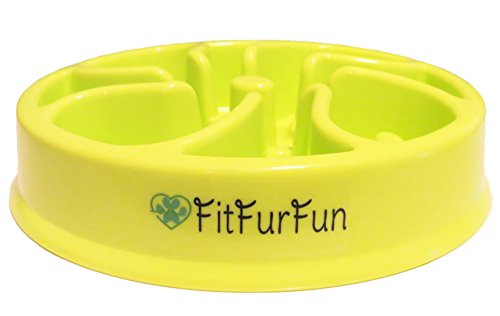 Slow Feed Dog Bowl for Fast Eaters by FitFurFun - (Promotes Healthy Digestion! Prevents Choking, Bloating, Regurgitation and Overeating!) GREEN by FitFurFun
