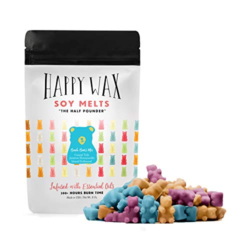 Happy Wax Beach Bear Mix Soy Wax Melts - Bear Shapes Perfect for Mixing Melts in Your Scented Wax Warmer - Large (8 oz) Pouch - Over 200 Hours Burn Time!