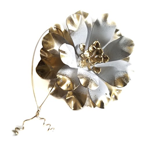 Ruffled Metal Flower Christmas Ornament White and Gold Tone Enamels