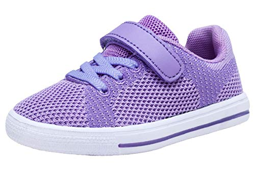 Girls Low Top Velcro Tennis Skate Shoes Bungee Straps Flat Sneakers(Toddler/Little Kids) (10 M US Toddler, Purple) (Shoe Skateboard Purple)