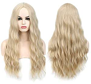 Benegem 26 inches Blond 613 long Wavy Wig Middle Part Synthetic Beach Wave Curly Wig for Halloween Party Daily Wear Blonde