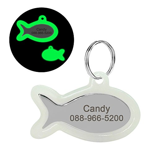 Didog Custom Engraved Dog Cat ID Tags,Glow Dark Pet Tags,Paw Print Shape,Fish Shape - Engraved Fish