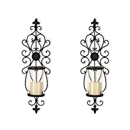 Classic Iron and Glass Vertical Wall Hanging Candle Holder Sconce, Set of 2 (Fleur de Lis)