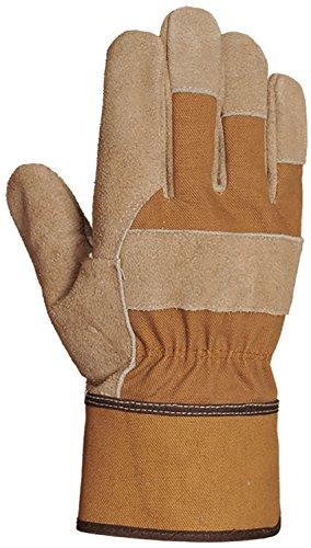 Bellingham C8202L Canvas and Leather Work Gloves, Premium Triple Reinforced Split Grain Cowhide Palm, Canvas Gauntlet, Large, Brown ()