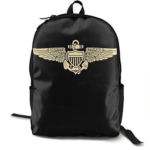 Nooleadel Lightweight Naval Aviator Pilot Wings Printed School Backpack Water Resistant Travel Rucksack Bag Laptop Backpack Daypack,17 Inch ()
